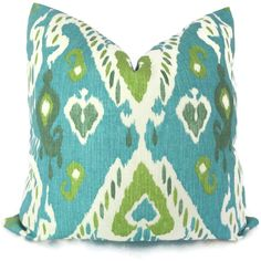 Aqua and Green Ikat Decorative Pillow Cover $45.00, via Etsy.