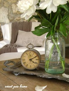 TRAYS :: Vintage clock, jar of flowers & neutral vintage decor.