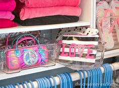 Tips for organizing closets with inexpensive clear storage bins used for organizing refrigerators.  The Creativity Exchange