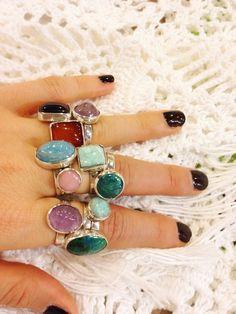 Gypsy Rings, mixed stones set in sterling  www.artrsano-jewels.com
