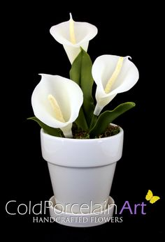 Cold Porcelain Art. Handcrafted Flowers. www.coldporcelainart.com #flowers, #calla lilies, #coldporcelain