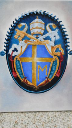 Pope John Paul Coat of Arms...oil on canvas.  by Raven Wing Hughes