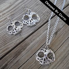Skull Flower Silver Charm Necklace and Earring by designsbydayzi