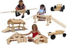 Timberworks Toys King Wooden Construction Building Set