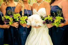 small bouquets for the girls - replace purple with navy