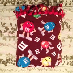 M & M no sew fleece blanket I made for my Mom