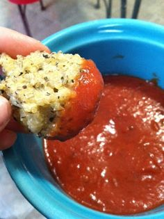 Quinoa Pizza Bites! SO healthy, easy, and satisfies that Comfort Food Craving! 265 caloriesand18g protein for 12 BITES!