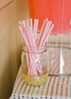 Gold Glittered Mason Glass for Straws