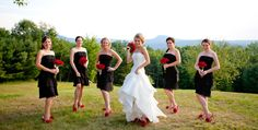 bridesmaids - black dress, red shoes and flowers