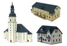Many different printable 3-D buildings.  Whole villages in fact. Free!