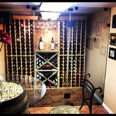 Our advantage pine wine racks in a cellar in NY. Find this and more at WineRacks.com.