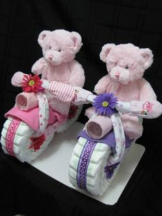 diaper cakes for twins   ... would be cute for twins that are boy and a girl motercyle diaper cakes