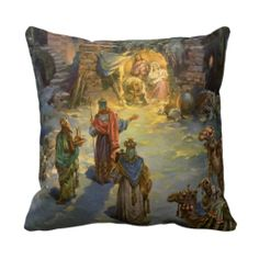 Vintage Christmas, Nativity, Visiting Magi Manger Pillows