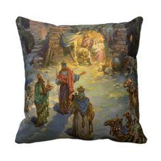Vintage Christmas, Nativity, Visiting Magi Manger Pillows