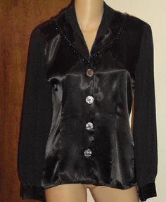 Nicola Black Blouse Shawl Collar Vintage Long by outoftheattic2u