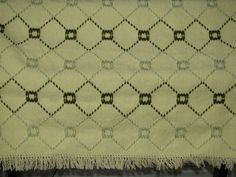 Swedish Weaving Blanket done on Yellow Monk's Cloth with Acrylic Yarn in Colors of SeaFoam and Olive