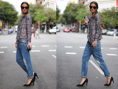 denim obsessed @emilyandmeritt know how to wear baggy jeans!  Styling Tip #1: Structured Jacket. #2: Crewneck Sweater. #3: Ladylike Shoes. #4: Show A Little Skin.