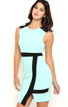 Deb Shops Sleeveless Bodycon Dress with Black Trim and Asymmetrical Skirt $35.00