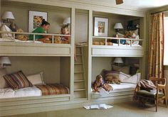 Shared kids room with AMAZING built in bunkbeds. My grandma used to have built in they were the best for sleep overs.
