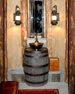 2 of these in the cowboy bathroom. Love the lamps too.