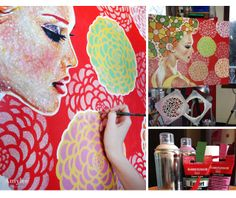 Amylee of Paris, France uses our Medium Bloomers Stencil to create lovely and colorful canvas art.