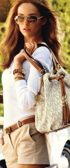 short, purs, ladies fashion, cloth, fashion styles, dress, bag, outfit, michael kors summer