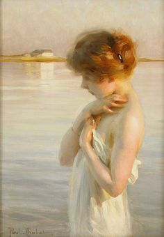 Artist: Paul Chabas (1869-1937), French Academic Painter {delicate young female standing on the beach painting} Dainty !!