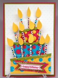 Stampin' Up!  Bird Punch  Birthday Cake Card  Sharon White