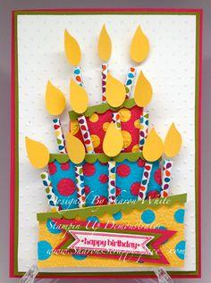 Stampin' Up! Bird Punch Birthday Cake Card Sharon White