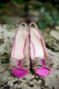 sparkly, glittery pink shoes for the bride, photo by capturedbyjen.com