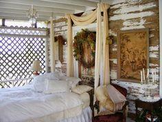 Shabby victorian indoor /outdoor bedroom - http://myshabbychicdecor.com/shabby-victorian-indoor-outdoor-bedroom/