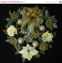 Gold Silver and Cream Christmas Wreath