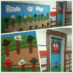 Western classroom door an bulletin board