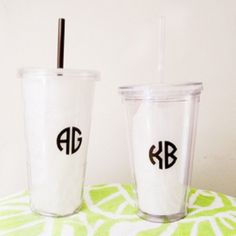 I used the Silhouette, vinyl, one of the Harold's Monograms fonts, and some BPA-free acrylic tumblers to make these end-of-the-school-year gifts for my boys' teachers. The monograms repeat on the opposite side. These cups are dishwasher-safe!
