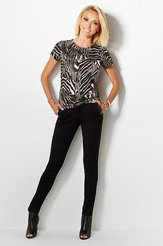 Slip on these G by Giuliana slim ponte knit pants and celebrate your shape! The black faux leather paneling slims in all the right places and adds a high-fashion appeal. How would you style for fall?