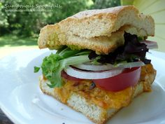 SUmptuous Spoonfuls: Cheddar Chile Chicken Avocado Sandwich on Toasted Focaccia