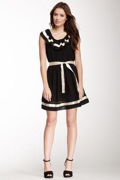 Contrast Trim Ruffle Dress