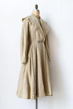 Vintage 1950s cream wool princess coat