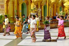 Buddhist religious processions at Shwedagon Pagoda in Yangon, Burma.