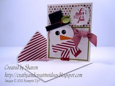 """Cute little """"Oh What Fun"""" Snowman Punch Art Card and matching envelope using the Christmas Messages Stamp Set.  For details and directions visit my blog: craftyandcreativeideas.blogspot.com/2013/10/oh-what-fun-snowman-punch-art-card.html"""