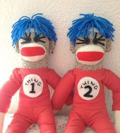 SALE!!!  Thing 1 and Thing 2 Sock Monkeys by DeedleDeeCreations on Etsy, $45.00