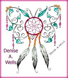 Dreamcatcher Butterfly Tattoo Design by Denise A. Wells including feathers, hearts, vines, leaves and charms... ***Message me on Facebook to get a Price Quote.