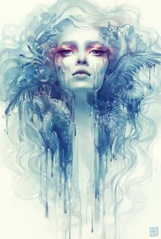 I adore the dripping effect that blend effects into the background and the color choice is amazing. Her face melds flawlessly into the nature surrounding her face, making a stunning effect.