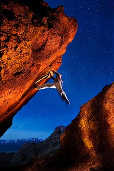 Paul, night bouldering