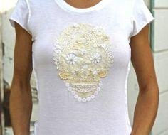 DIY sugar skull t-shirt skulls, lace sugar, skull diy, sew, diy kits, diy shirt, cloth, skull tshirt, sugar skull