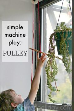 Simple machine project at home with a pulley. Such fun for kids.