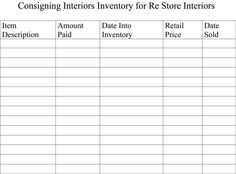INVENTORY SHEETS AND MY BOOTH -  