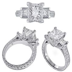 3.44 Carat EGL Princess Cut Hand Etched Three Stone Diamond Engagement Ring 2