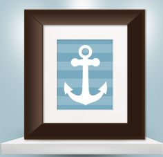 Nautical Anchor Print - Choose Your Color & Pattern - 8x10