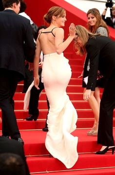 Emma Watson booty in a white gown